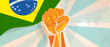 Brazil fight and protest independence struggle rebellion show symbolic strength with hand fist illustration and flag. Vector Stock Image