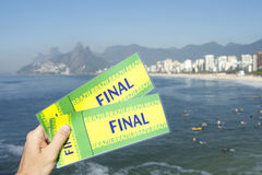 Brazil Final Tickets at Ipanema Beach Rio de Janeiro Stock Photography