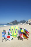 Brazil Final Tickets World Flags on the Beach Rio Stock Images