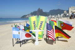 Brazil Final Tickets World Flags on the Beach Rio Royalty Free Stock Image