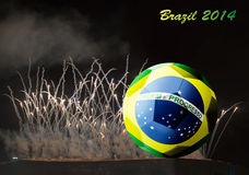 Brazil 2014 and fireworks. Brazil 2014 and colorfull fireworks Stock Images