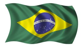 Brazil flag. Flag of Brazil waving in the wind Royalty Free Stock Images