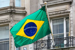 Brazil flag. Official Federative Republic Brazil national flag at building stock photo