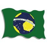 Brazil. Flag with an abstract soccer ball in the middle Royalty Free Illustration