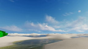 Brazil flag against sand dunes and water lagoons. Panorama of unique white sand dunes desert and rainwater lagoons in Lencois Maranhenses National Park and flag stock video footage