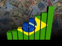 Brazil flag bar chart over Euros and Dollars illustration. Brazil flag bar chart over Euros and Dollars 3d illustration Stock Images