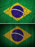 Brazil flag. Painted on old wood background royalty free stock photos