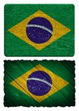 Brazil flag. Painted on wooden tag royalty free stock photo