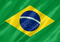 Brazil Flag. With waving on satin texture stock illustration
