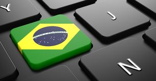 Brazil - Flag on Button of Black Keyboard. Royalty Free Stock Images