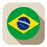 Brazil Flag Button Icon Modern Stock Photography