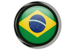 Brazil flag in the button pin Isolated on White Background Royalty Free Stock Photography