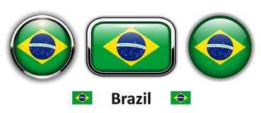 Brazil flag buttons. 3d shiny vector icons Stock Image