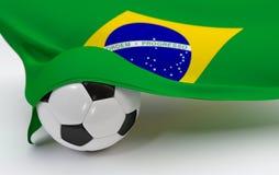 Brazil flag with championship soccer ball. Brazil flag and soccer ball on white backgrounds Stock Photo