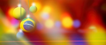Brazil flag on Christmas ball with blurred and abstract background. Brazil flag on Xmas ball. Christmas background corner design element featuring white bubbles Royalty Free Stock Photos