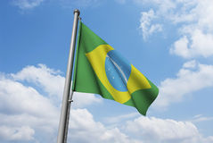 Brazil Flag with Clouds Royalty Free Stock Image
