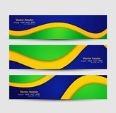 Brazil flag colors concept banner and header set Stock Photos