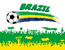 Brazil flag colors with soccer ball and Brazilian supporters sil. Houettes. All the objects, brush strokes and silhouettes are in different layers and the text Royalty Free Stock Photo