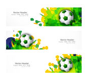 Brazil flag colors three header set splash grunge Stock Photography
