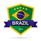 Brazil flag colour badge Stock Images