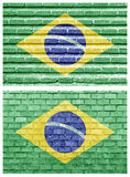 Brazil flag on different brick walls Stock Photography