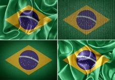 Brazil flag. Fabric flags brazil. flag on cloth background stock photos