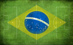 Brazil flag on the field Stock Photo