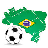 Brazil with flag and footballfield Royalty Free Stock Images