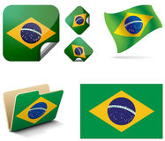 Brazil. Flag of Brazil in the form of banner and flag in the wind as well as a folder or shortcut folder Stock Photos