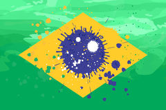 Brazil flag formed by spots of paint Royalty Free Stock Images