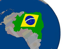 Brazil with flag on globe Stock Photography