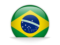 Brazil Flag Glossy Button Royalty Free Stock Photos