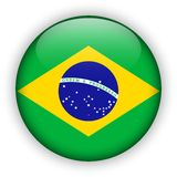 Brazil Flag Glossy Button. world football 2014.  Stock Photography