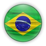 Brazil Flag Glossy Button. world football 2014 Royalty Free Stock Photos