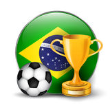 Brazil flag with gold cup Royalty Free Stock Image