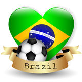 Brazil Flag Heart and soccer ball Stock Photos