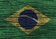 Brazil flag with high detail of old wooden background . 3D illustration Stock Images