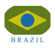 Brazil flag icon illustrated. On a white background Royalty Free Stock Photo