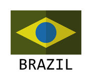 Brazil flag icon illustrated. On a white background Stock Images