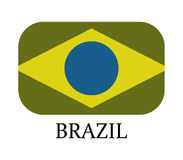 Brazil flag icon illustrated. On a white background Royalty Free Stock Images