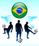 Brazil Flag Icon on Internet Button Stock Photos