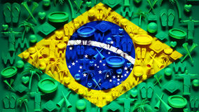 Brazil Flag with Icons Royalty Free Stock Photography
