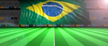Brazil flag in an illuminated football field. 3d illustration Stock Images