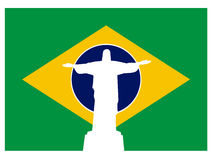 Brazil flag with jesus of rio. Vector design of brazilian flag with the famous statue of jesus of rio de janeiro in the middle Royalty Free Stock Photography