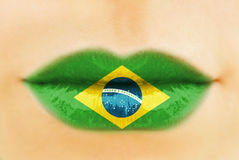 Brazil flag on lips Stock Photography