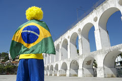 Brazil Flag Man Lapa Arches Rio Brazil Stock Photography