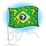 Brazil flag with many question marks. Brazil flag and many questions about the future Stock Photo