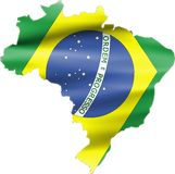 Brazil Flag on Map Royalty Free Stock Photos