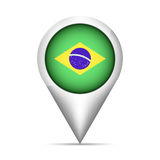 Brazil flag map pointer with shadow. Vector illustration Stock Images