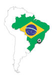 Brazil flag map soccer ball background Royalty Free Stock Images